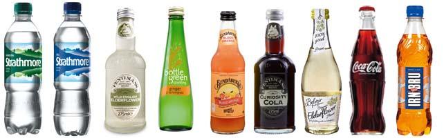 Soft-Drinks; Strathmore water, Fentimans, Bottle Green, Bundaberg, Curiosity Cola, Belvoir Elderflower, Coca Cola Classic, Irn-Bru glass.